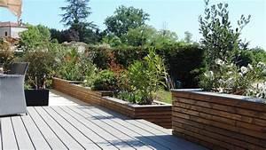 amenagement autour piscine bois kirafes With idee amenagement jardin paysager 4 amenagement paysager autour dune piscine classique