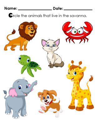 circle animals     savanna kids worksheet