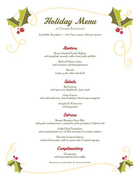christmas holly buffet menu design templates