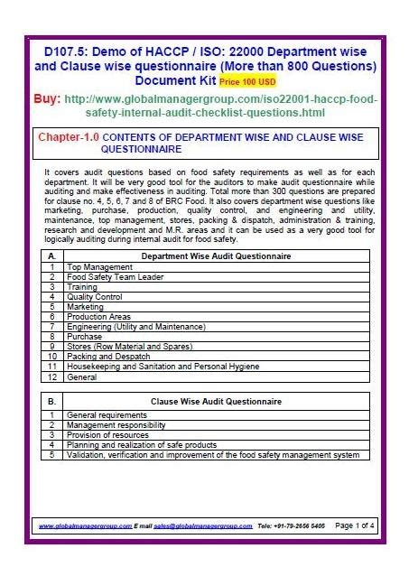 Audit Manager Questions by 7 Best Images About Iso 22000 Certification Documents On