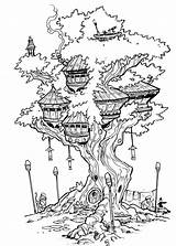 Tree Coloring Treehouse Pages Drawing Fairy Deviantart Inks Travisjhanson Adult Colouring Houses Drawings Books Sheets Printable Sketch Colorir Person Fantasy sketch template