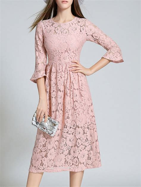 lace dresses pink m flare sleeve neck lace midi