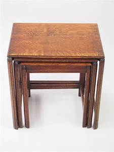 Vintage, Nest, 3, Oak, Tables