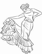 Coloring Spanish Dancer Flamenco Pages Spain Printable Dance sketch template