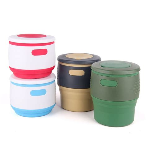 12 oz travel coffee mug foldable cups 100 food grade silicone foldable cups