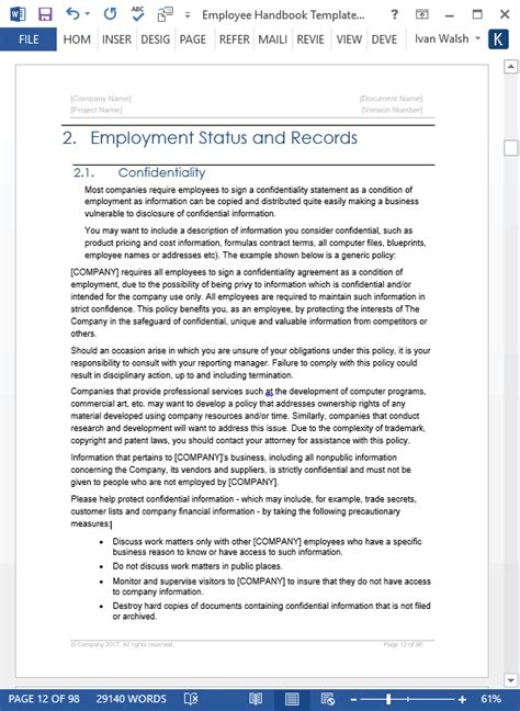Employee Handbook Templates (ms Word + Free Policy Manual