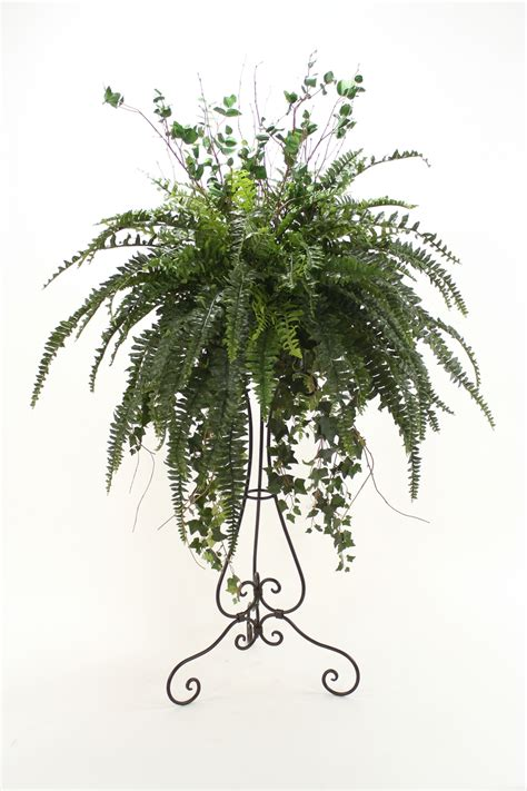 steins artificial trees silk boston fern arrangement floor plant in plant stand free shipping in usa 1001shops