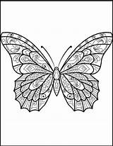 Butterfly Coloring Pages Zentangle Butterflies Printable Drawing Sheets Printables Mandala Colouring Moth Adults Patterns Adult Pattern Supercoloring Animals Paper sketch template