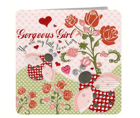 Ladybirds Gorgeous Girl Valentine's Day Card