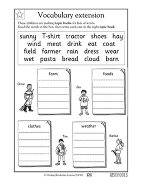 1st Grade Reading, Writing Worksheets Vocabulary Word Sort Greatkids