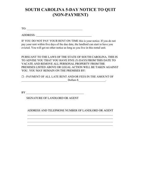 south carolina  day notice  quit form  payment