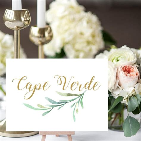 greenery wedding table names template printable reception