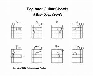 Beginner Guitar Chords   A Chart Of Eight Easy Open Chords