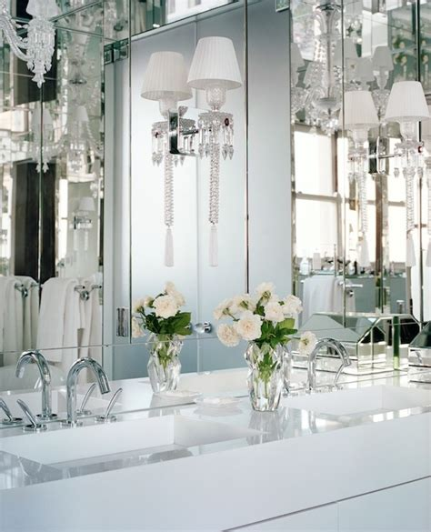 Mirrored Wall Bathroom by Bathroom With Mirror Paneled Wall And Ceiling