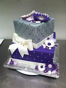 Purple & silver quilted birthday cake | Birthday cakes ...
