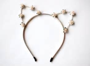 cat ear headbands floral cat ears headband in ivory white for coachella