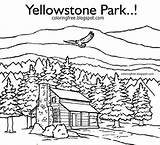 Cabin Coloring Log Printable Drawing Yellowstone Mountain Woods Park Adults Forest Simple Wildlife American Adult Cabins Drawings Cottages Sketch Nature sketch template