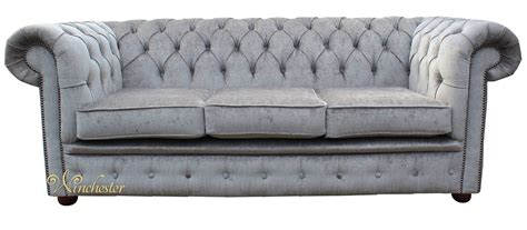 Chesterfield Settee by Chesterfield 3 Seater Settee Perla Illusions Grey Velvet