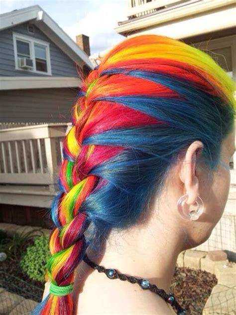 Rainbow Hair Color French Braid Design Hair Braids