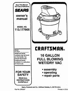 Craftsman 113177905 User Manual Wet  Dry Vac Manuals And