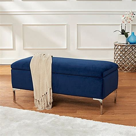 Bedroom Bench Navy Blue by Velvet 40 Inch Storage Bench With Metal Legs In Navy Bed