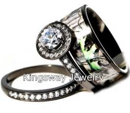 camouflage wedding ring sets hers 3 titanium camo 925 sterling silver engagement wedding rings set ebay