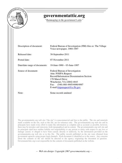 This document type is operating system independent. FBI-VillageVoice_1969-1997   Freedom Of Information Act ...