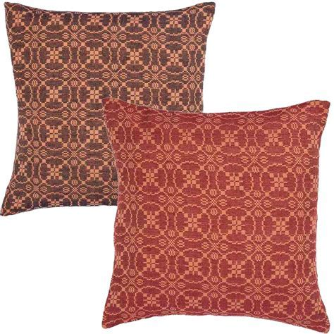 Marshfield Jacquard Pillow Cover Red or Black: Primitive