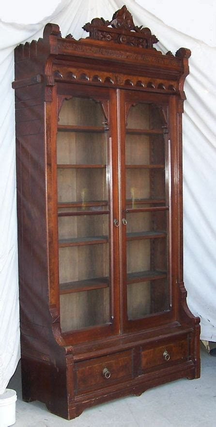 american victorian antique tall  door walnut bookcase
