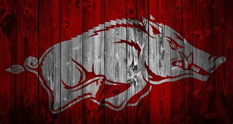 barn door tv wall arkansas razorbacks barn door mixed media by dan sproul