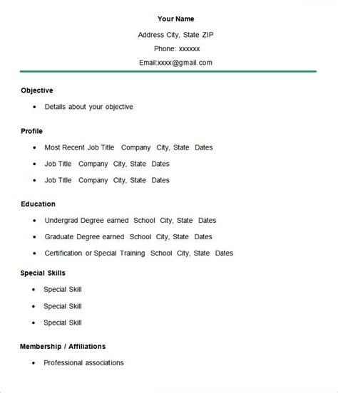simple resume template 39 free sles exles format download free premium templates