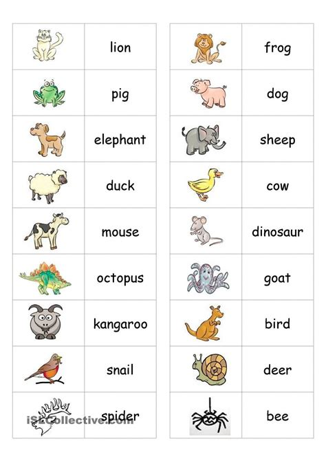 animal dominoes  images animal worksheets english