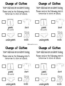 change of clothing parent letter for and spills change of clothing parent letter freebie by danielle 86744