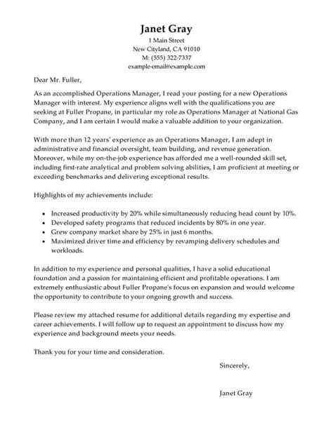 Best Operations Manager Cover Letter Examples | LiveCareer
