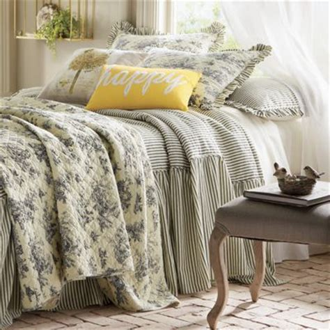 ticking stripe quilt ticking stripe ruffled bedspread and shams from through