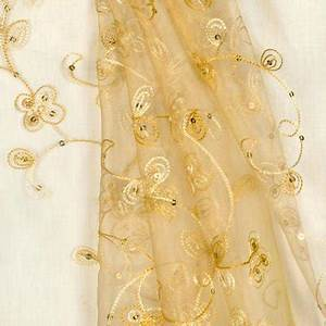 Gold Sequin Embroidered Organza Fabric OnlineFabricStore net