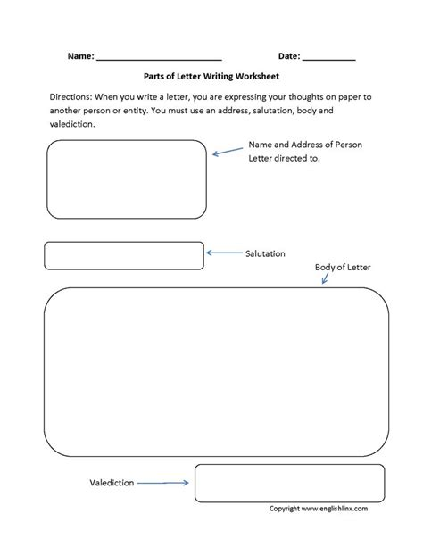 parts  letter writing worksheets writing  letter