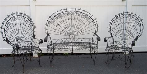 Wrought Iron Settee by Vintage Peacock Wrought Iron Lawn Patio Garden