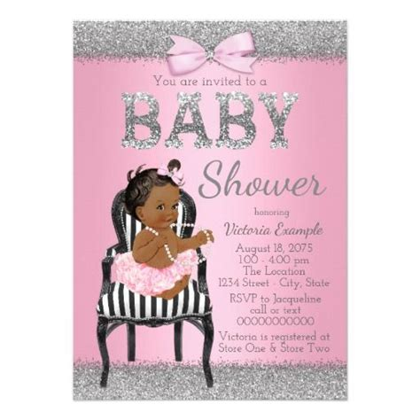 Pink And Black Baby Shower Invitations - 421 best silver black baby shower invitations images on