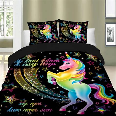 unicorn bedding set star cartoon duvet cover pillow cases