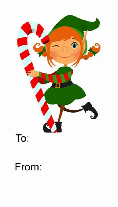 Elf Gift Tag Background Candycane Candy Printable