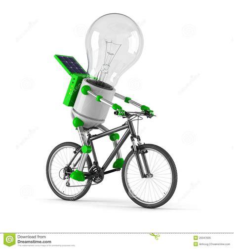 Robot Light by Solar Powered Light Bulb Robot Cycling Stock
