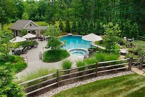 wood fence ideas Pool Traditional with berm curved pool