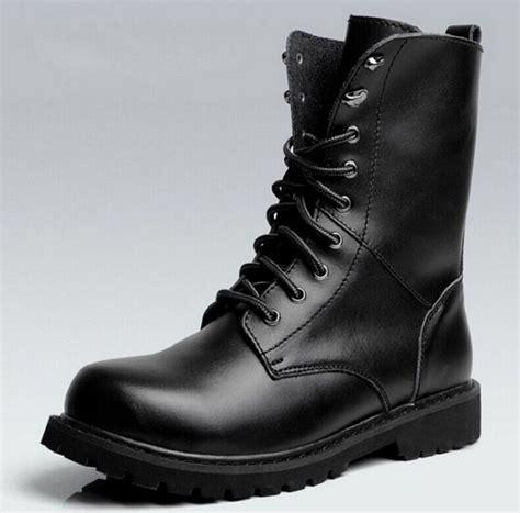 Size New Black Combat Leather Lace Mens