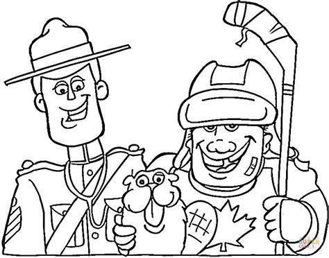 Kleurplaat Politie Logo by Canadian Symbols Mounted Beaver And Hockey