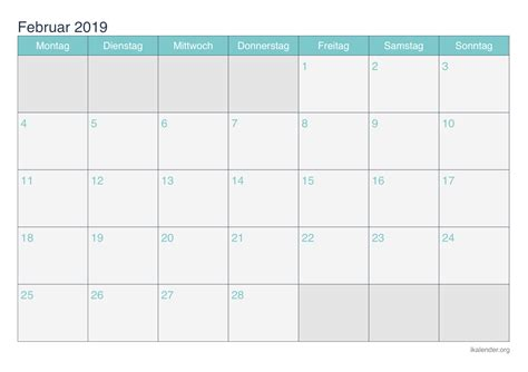 kalender februar zum ausdrucken ikalenderorg