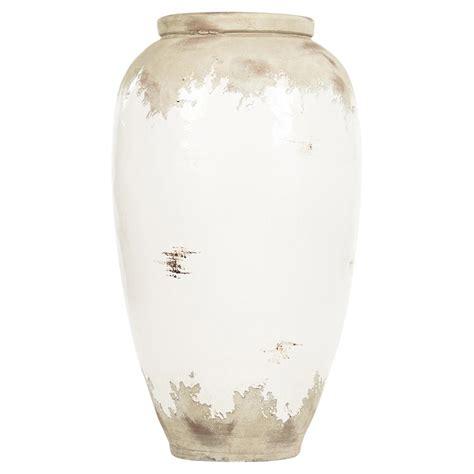 Large White Vase by Siena White Rustic Distressed White Large Ceramic Vase