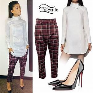 Zendaya Coleman White Shirtdress Plaid Pants | Steal Her Style