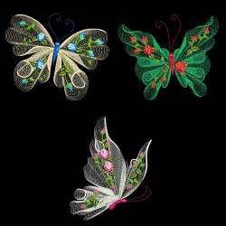 FLUTTERBY LUV #1 (6 inch size) - 10 Machine Embroidery Designs Instant Download 6 X 10 hoop (AzEB)