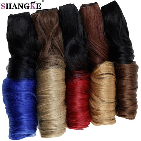 Shangke Long Wavy Colored Ombre Clip In Hair Extensions